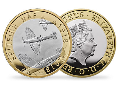 RAF Centenary Spitfire 2018 £2 Silver Proof Coin