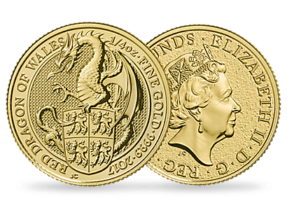 The Queen's Beasts - The Red Dragon of Wales - 2017 1/4 oz £25 Gold Bullion Coin