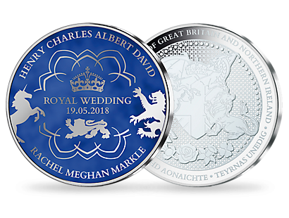 Royal Wedding - Prince Harry & Meghan Markle Silver Plated Blue Commemorative