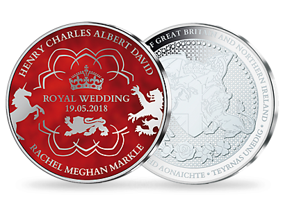 Royal Wedding -  Prince Harry & Meghan Markle Silver Plated Red Commemorative