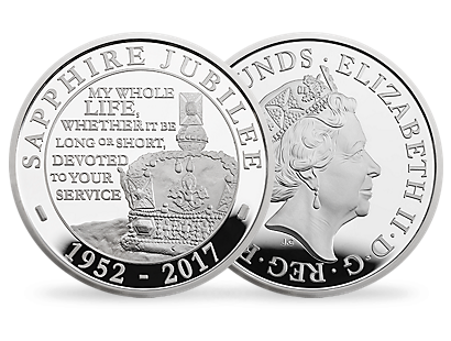 The Sapphire Jubilee of Her Majesty The Queen 2017 United Kingdom £5 Silver Proof Piedfort Coin