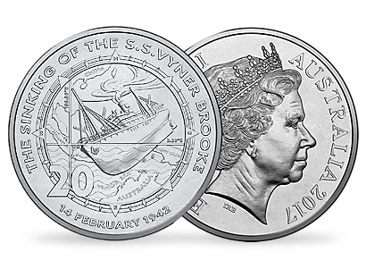 75th Anniversary of the Sinking of SS Vyner Brooke 2017 20c Uncirculated Coin