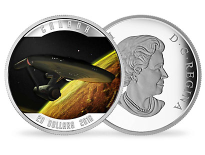 """Space: the final frontier."" Celebrate the Star Ship Enterprise with this fine silver coin"