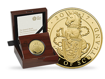 The Queen's Beasts - The Unicorn of Scotland 2017 Gold Proof £100 1 oz Coin