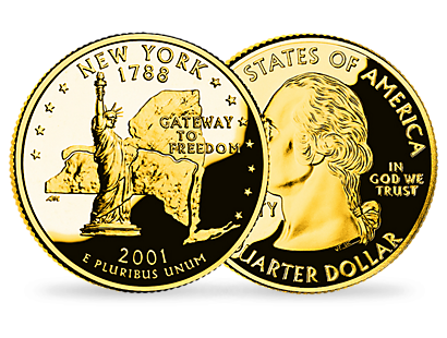 New York 2001 24 Karat Gold Plated State Quarter