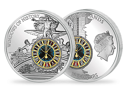 Windows of History – Grand Central Terminal 2013 Silver Coin with Tiffany Glass Insert