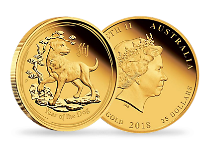 Australian Lunar Series II - Year of the Dog 2018 1/4 oz Gold Proof $25 Coin