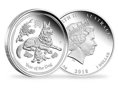 Australian Lunar Series II - Year of the Dog 2018 1oz Silver Proof $1 Coin