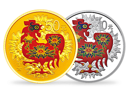 Year of the Rooster 2017 3g Gold and 30g Silver Colour Coins