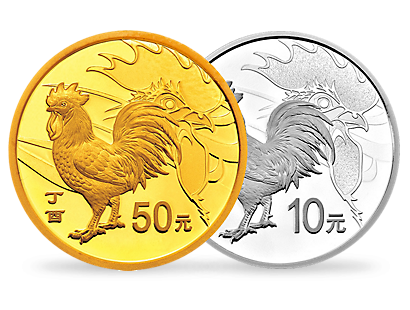 Year of the Rooster 2017 Proof Gold 3g and Proof Silver 30g Coins