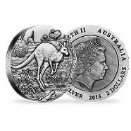 Bild: Australian Kangaroo 2016 2oz High Relief Antiqued Silver Coin