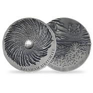Bild: Brenham Meteorite 5oz Concave Silver Antiqued Ultra High Relief Coin