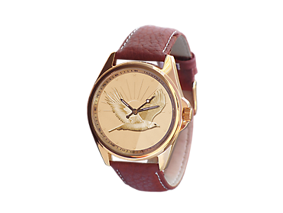 "Leder-Armbanduhr ""Golden Eagle"""