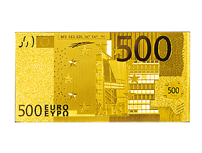 Reproduction doré à l'or pur du « Billet de 500 euros »