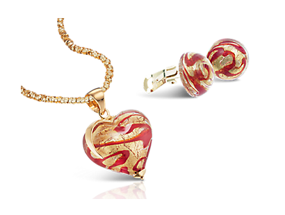 "Murano-Set ""Cuore di Amore"" in Rot-Gold"