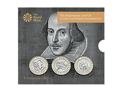 The Shakespeare 2016 UK £2 Three-Coin BU Set