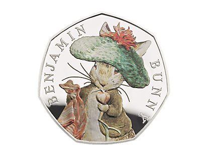 Celebrating Beatrix Potter and Her Little Tales - Benjamin Bunny Silver Proof 50p Coin