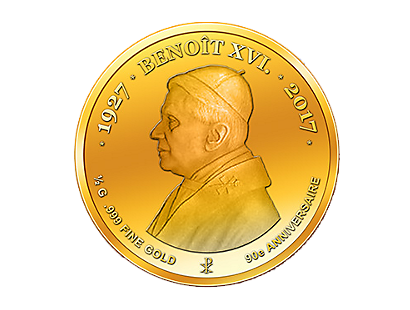 90th Birthday of Pope Benedict XVI Gold Coin