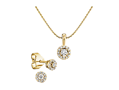 Gelbgold 375 Halo Diamant-Set