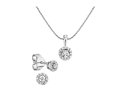 Weißgold 375 Halo Diamant-Set